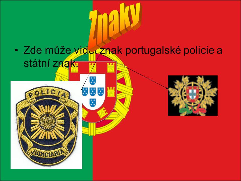 Zde může vidět znak portugalské policie a státní znak.
