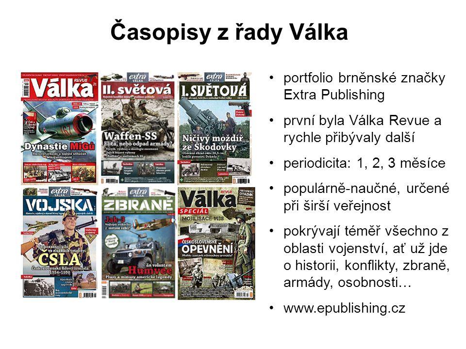 Časopisy z řady Válka portfolio brněnské značky Extra Publishing první byla Válka Revue a rychle přibývaly další periodicita: 1, 2, 3 měsíce populárně