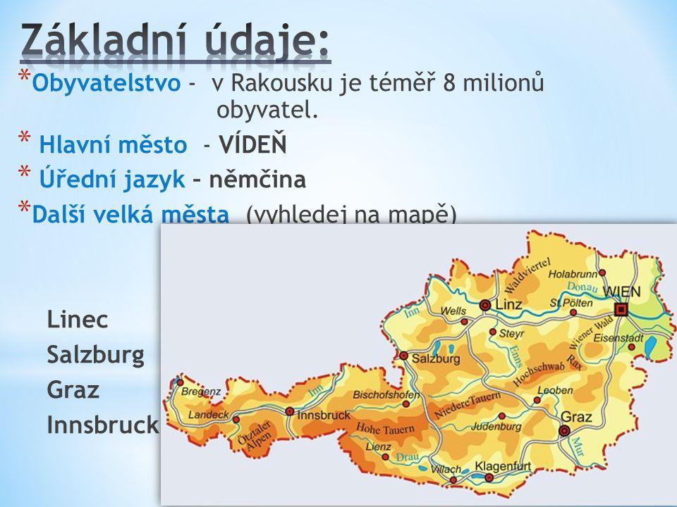 * Obyvatelstvo - v Rakousku je téměř 8 milionů obyvatel. * Hlavní město - VÍDEŇ * Úřední jazyk – němčina * Další velká města (vyhledej na mapě) Linec