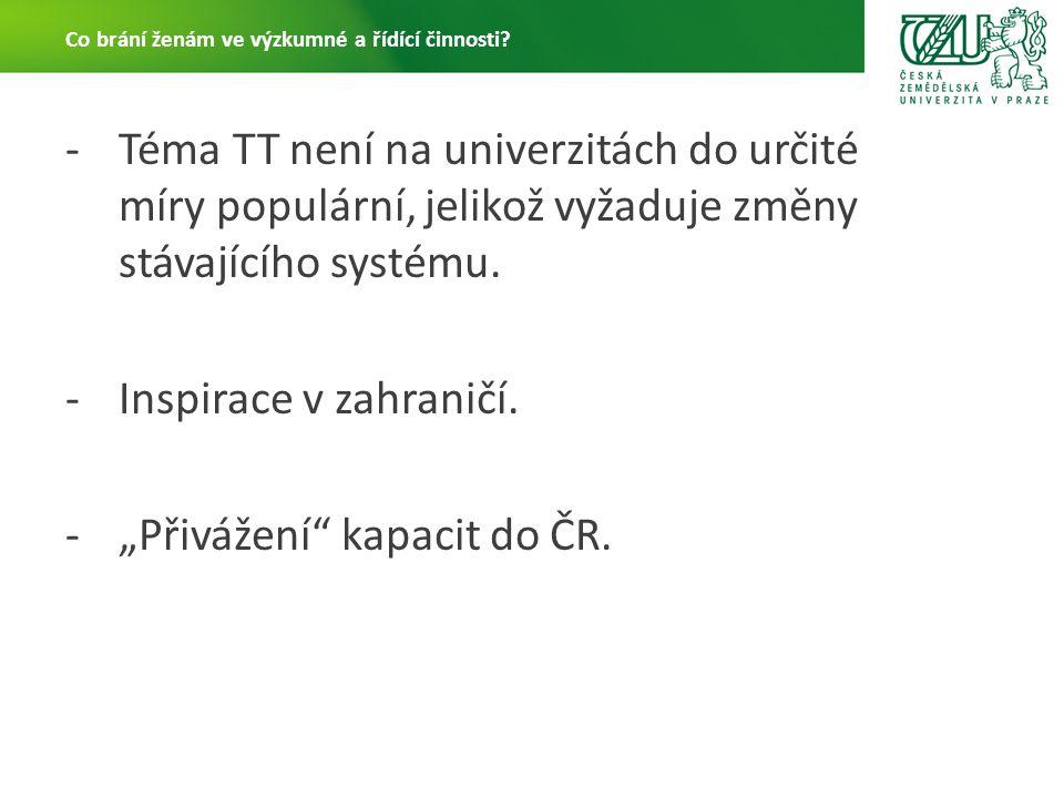 -Téma TT není na univerzitách do určité míry populární, jelikož vyžaduje změny stávajícího systému.