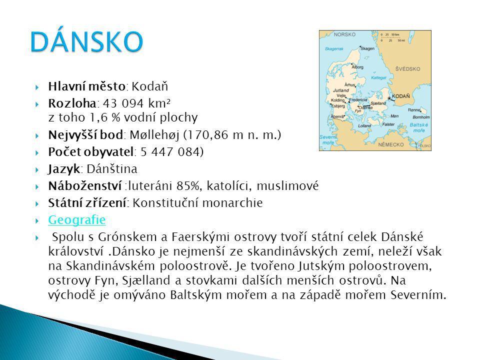  Hlavní město: Kodaň  Rozloha: 43 094 km² z toho 1,6 % vodní plochy  Nejvyšší bod: Møllehøj (170,86 m n. m.)  Počet obyvatel: 5 447 084)  Jazyk: