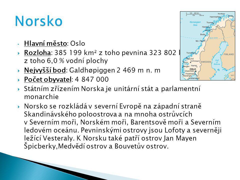 Hlavní město: Oslo  Rozloha: 385 199 km² z toho pevnina 323 802 km² z toho 6,0 % vodní plochy  Nejvyšší bod: Galdhøpiggen 2 469 m n. m  Počet obyva