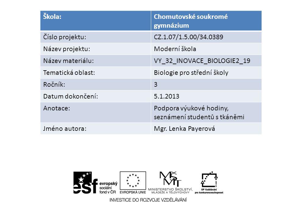 Škola:Chomutovské soukromé gymnázium Číslo projektu:CZ.1.07/1.5.00/34.0389 Název projektu:Moderní škola Název materiálu:VY_32_INOVACE_BIOLOGIE2_19 Tem