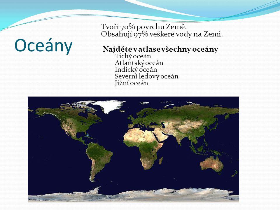 Oceány Tvoří 70% povrchu Země. Obsahují 97% veškeré vody na Zemi. Najděte v atlase všechny oceány Tichý oceán Atlantský oceán Indický oceán Severní le