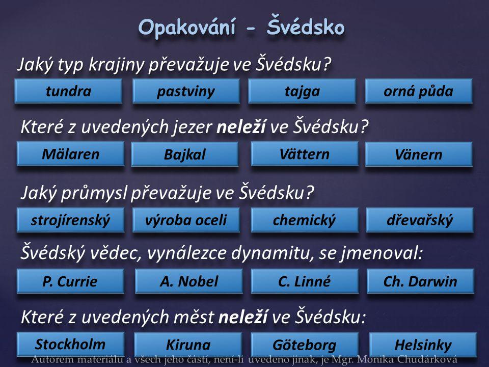 Jaký typ krajiny převažuje ve Švédsku.