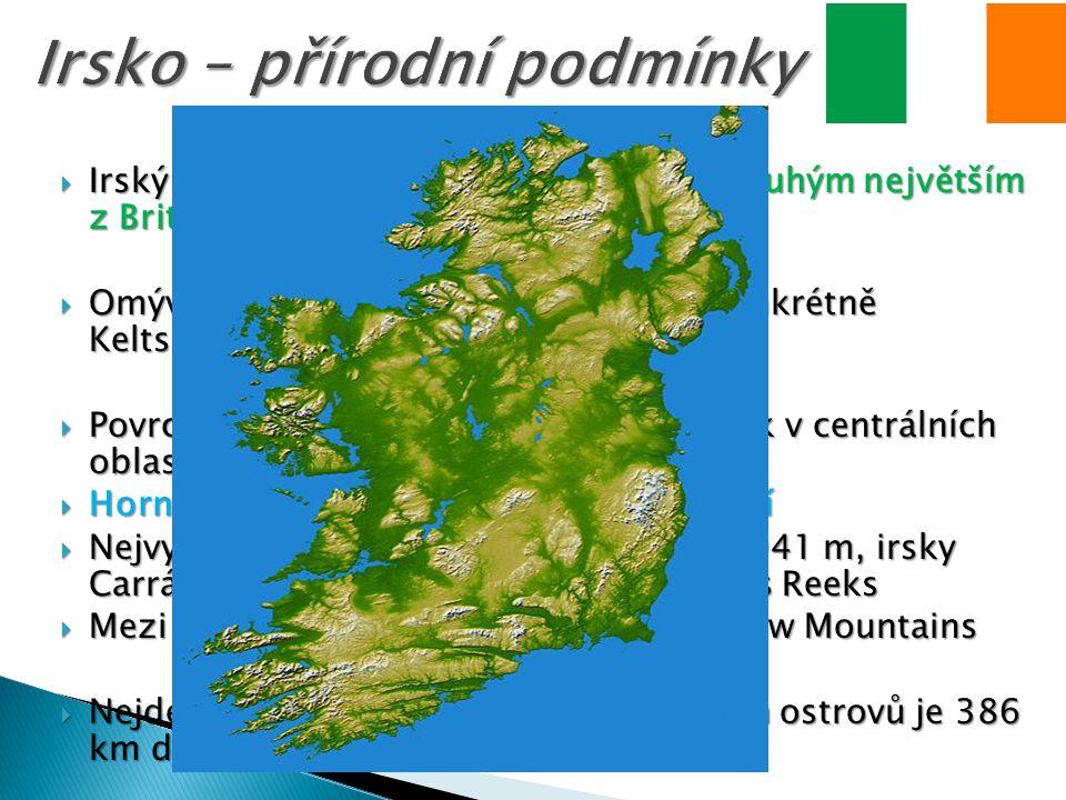  Irský ostrov je s rozlohou 84 412 km² druhým největším z Britských ostrovů  Omývají jej vody Atlantském oceánu, konkrétně Keltského a Irského moře  Povrch je převážně nížinatý, zejména pak v centrálních oblastech  Hornatiny se vyskytují v blízkosti pobřeží  Nejvyšším vrcholem je Carrauntoohill (1041 m, irsky Carrán Tuathail) v pohoří Macgillycuddy s Reeks  Mezi další významná pohoří patří: Wicklow Mountains  Nejdelší řekou nejen Irska, ale i Britských ostrovů je 386 km dlouhá řeka Shannon