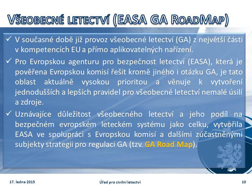 V současné době již provoz všeobecné letectví (GA) z největší části v kompetencích EU a přímo aplikovatelných nařízení. Pro Evropskou agenturu pro bez