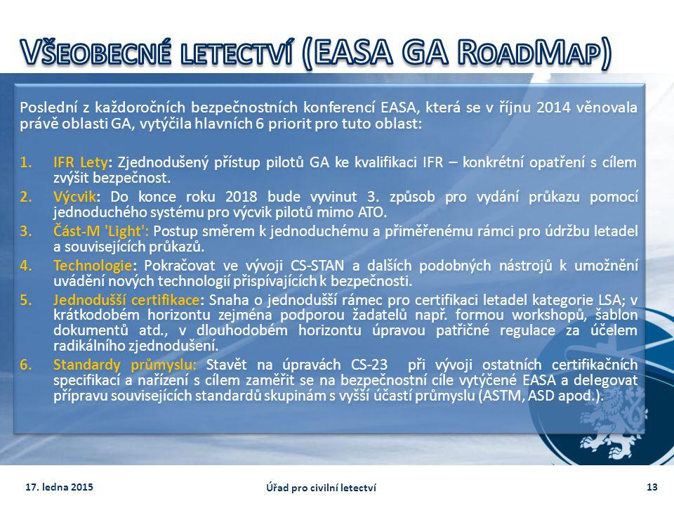 Poslední z každoročních bezpečnostních konferencí EASA, která se v říjnu 2014 věnovala právě oblasti GA, vytýčila hlavních 6 priorit pro tuto oblast: