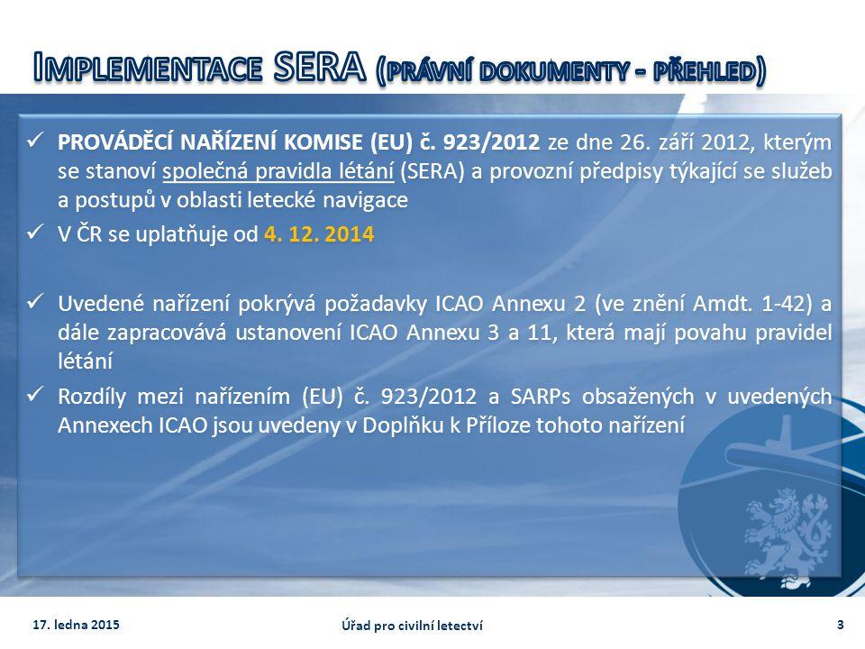 PROVÁDĚCÍ NAŘÍZENÍ KOMISE (EU) č. 923/2012 ze dne 26. září 2012, kterým se stanoví společná pravidla létání (SERA) a provozní předpisy týkající se slu