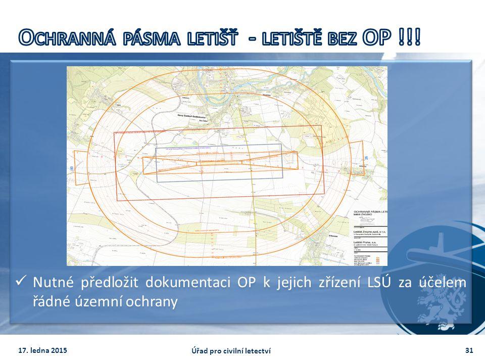 Nutné předložit dokumentaci OP k jejich zřízení LSÚ za účelem řádné územní ochrany 3117. ledna 2015 Úřad pro civilní letectví