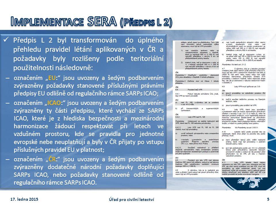Předpis L 2 byl transformován do úplného přehledu pravidel létání aplikovaných v ČR a požadavky byly rozlišeny podle teritoriální použitelnosti násled