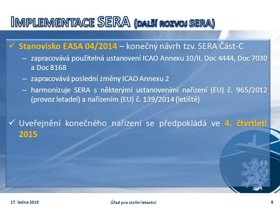 Stanovisko EASA 04/2014 – konečný návrh tzv. SERA Část-C – zapracovává použitelná ustanovení ICAO Annexu 10/II, Doc 4444, Doc 7030 a Doc 8168 – zaprac