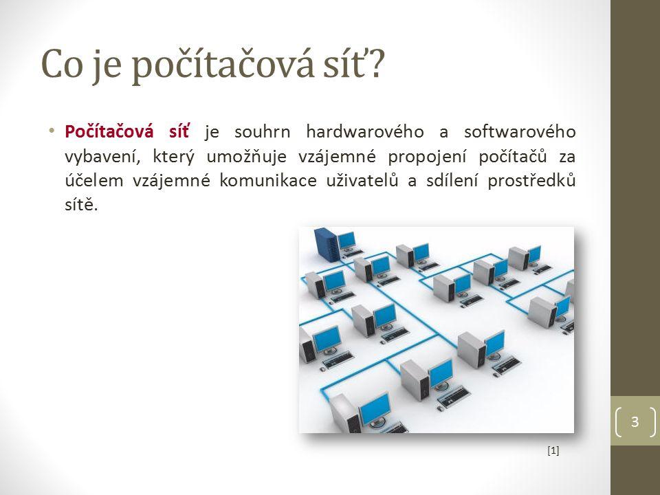 Co je počítačová síť? Počítačová síť je souhrn hardwarového a softwarového vybavení, který umožňuje vzájemné propojení počítačů za účelem vzájemné kom