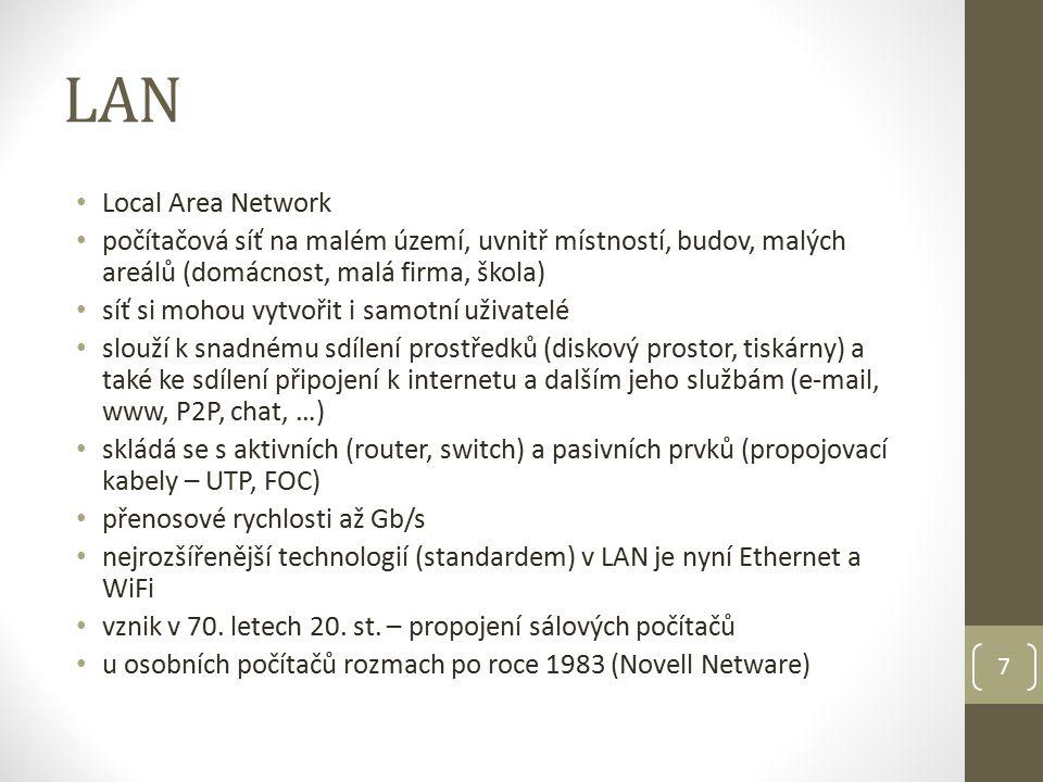 MAN Metropolitan Area Network rozlehlá počítačová síť v rámci města nebo několika měst je optimalizována pro větší oblast (několik budov až celá města) technicky je MAN složena z několika menších podsítí typu LAN propojených pomocí WiFi nebo optického kabelu 8