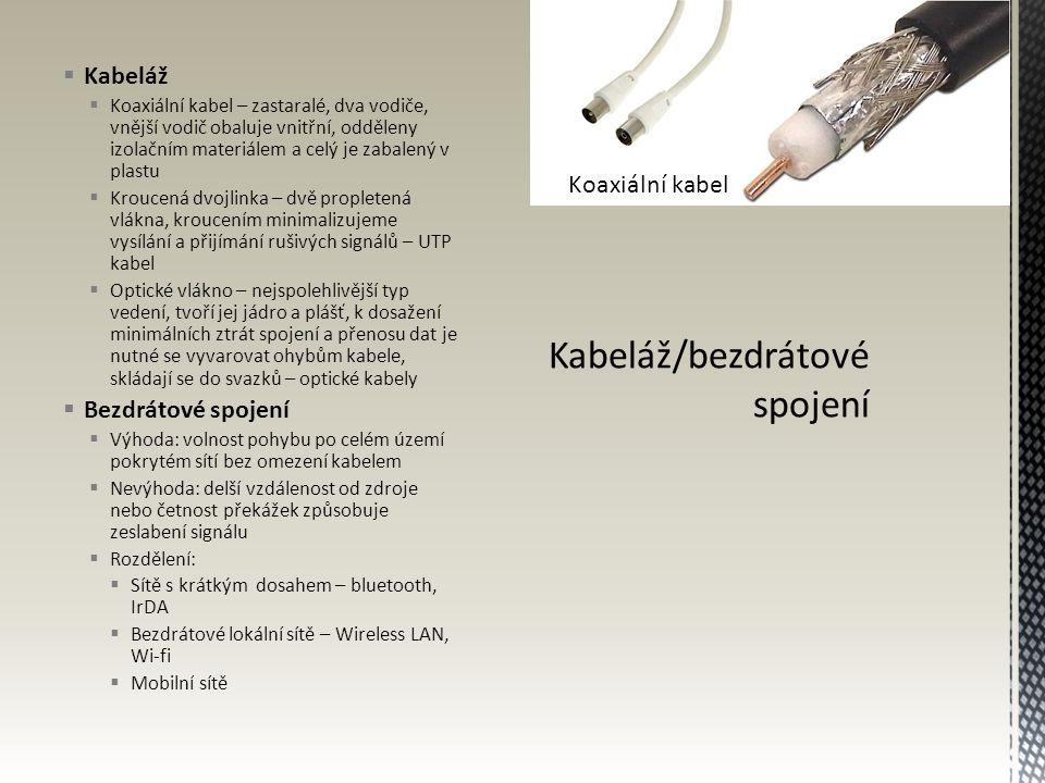  Kabeláž  Koaxiální kabel – zastaralé, dva vodiče, vnější vodič obaluje vnitřní, odděleny izolačním materiálem a celý je zabalený v plastu  Kroucen