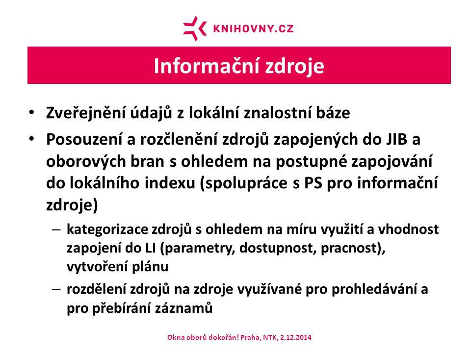 Informační zdroje Zveřejnění údajů z lokální znalostní báze Posouzení a rozčlenění zdrojů zapojených do JIB a oborových bran s ohledem na postupné zapojování do lokálního indexu (spolupráce s PS pro informační zdroje) – kategorizace zdrojů s ohledem na míru využití a vhodnost zapojení do LI (parametry, dostupnost, pracnost), vytvoření plánu – rozdělení zdrojů na zdroje využívané pro prohledávání a pro přebírání záznamů Okna oborů dokořán.
