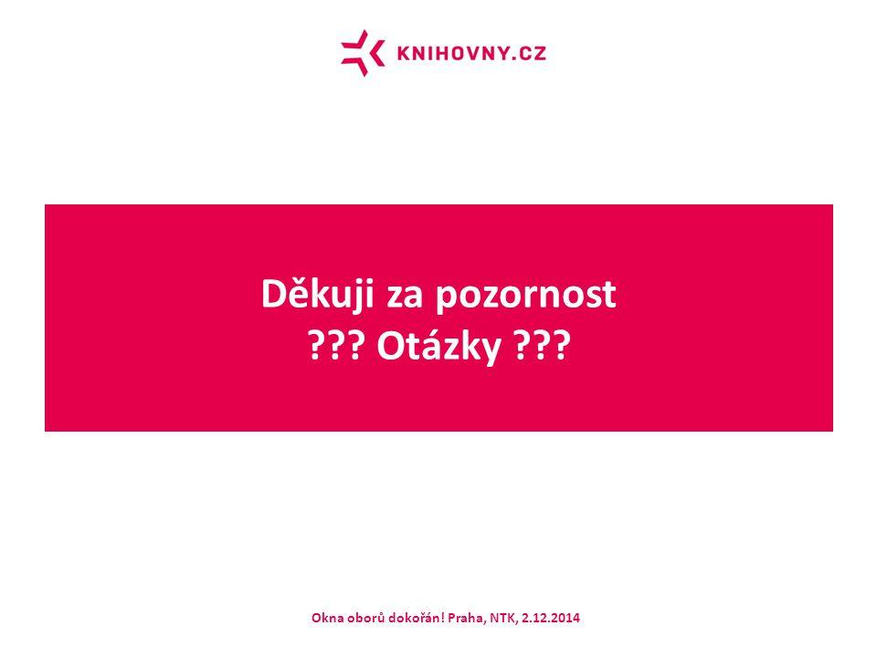 Děkuji za pozornost Otázky Okna oborů dokořán! Praha, NTK, 2.12.2014