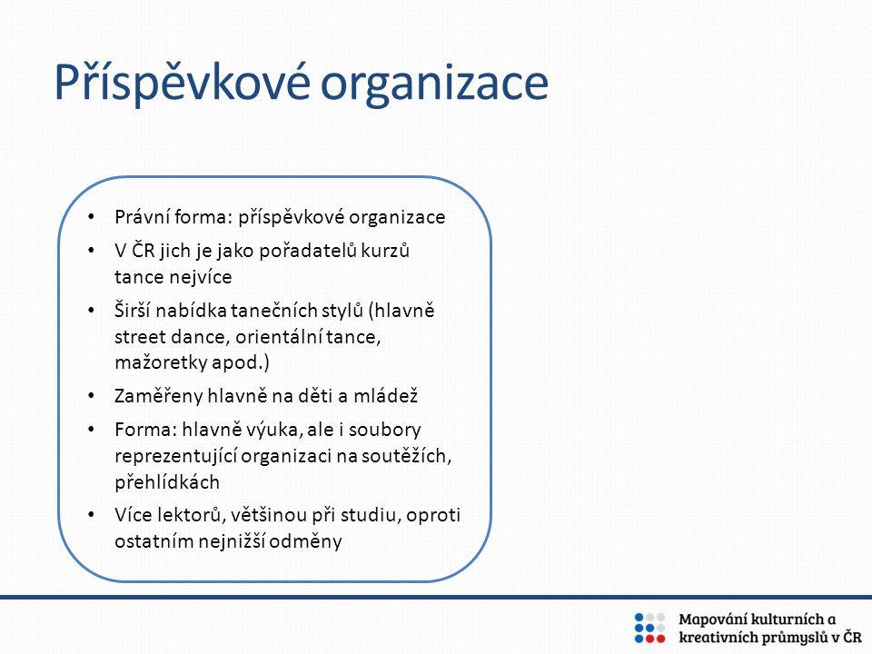 Příspěvkové organizace Právní forma: příspěvkové organizace V ČR jich je jako pořadatelů kurzů tance nejvíce Širší nabídka tanečních stylů (hlavně str