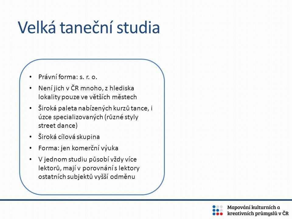 Velká taneční studia Právní forma: s. r. o. Není jich v ČR mnoho, z hlediska lokality pouze ve větších městech Široká paleta nabízených kurzů tance, i