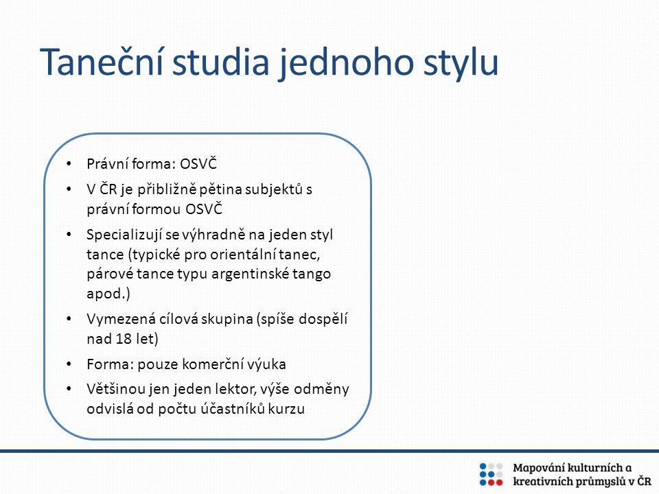 Taneční studia jednoho stylu Právní forma: OSVČ V ČR je přibližně pětina subjektů s právní formou OSVČ Specializují se výhradně na jeden styl tance (t