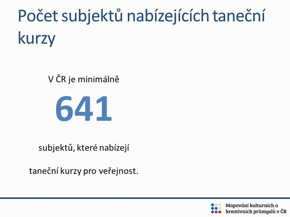 V ČR je minimálně 641 subjektů, které nabízejí taneční kurzy pro veřejnost. Počet subjektů nabízejících taneční kurzy