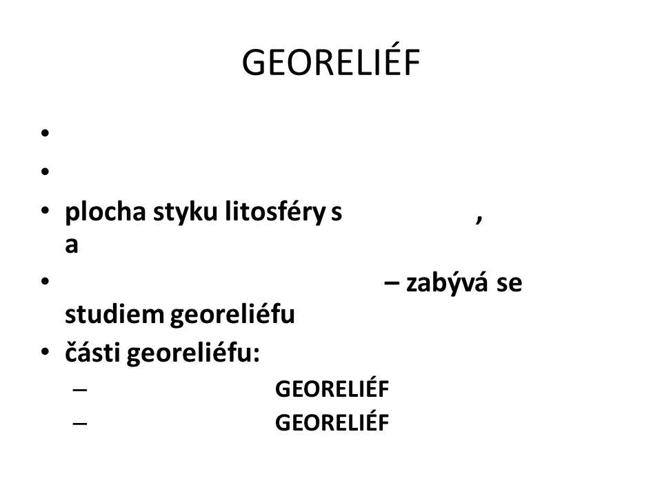 GEORELIÉF plocha styku litosféry s, a – zabývá se studiem georeliéfu části georeliéfu: – GEORELIÉF