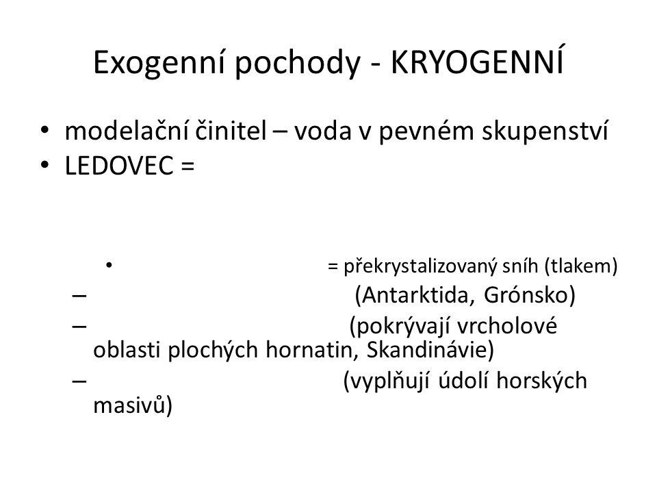 Exogenní pochody - KRYOGENNÍ modelační činitel – voda v pevném skupenství LEDOVEC = = překrystalizovaný sníh (tlakem) – (Antarktida, Grónsko) – (pokrý
