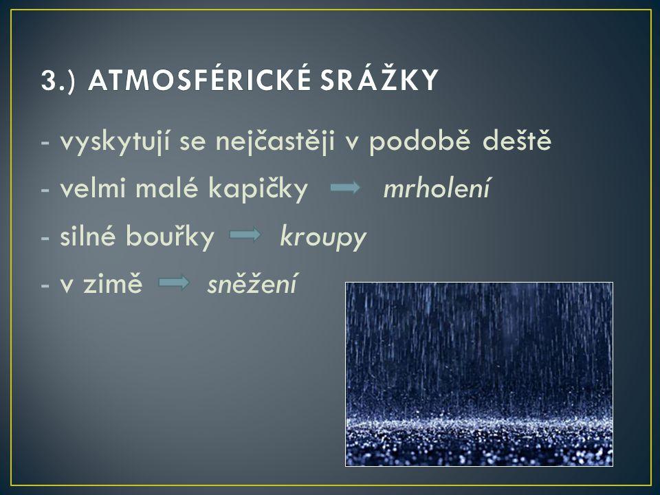 -vyskytují se nejčastěji v podobě deště -velmi malé kapičky mrholení -silné bouřky kroupy -v zimě sněžení