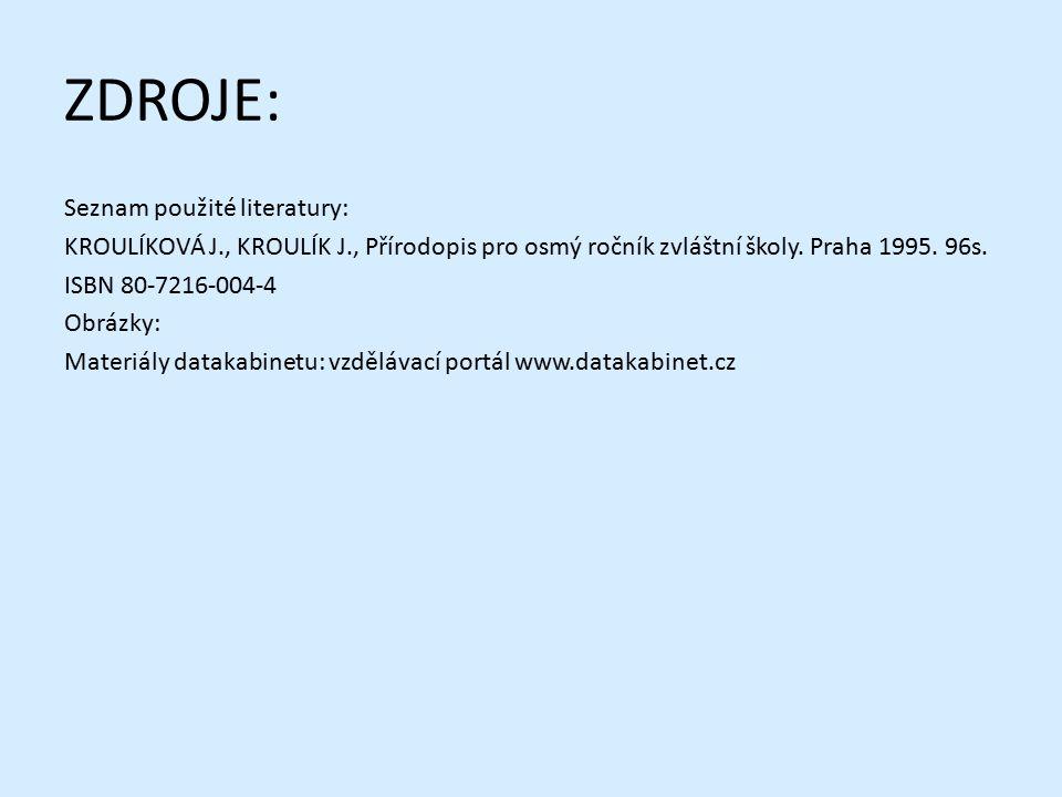 ZDROJE: Seznam použité literatury: KROULÍKOVÁ J., KROULÍK J., Přírodopis pro osmý ročník zvláštní školy. Praha 1995. 96s. ISBN 80-7216-004-4 Obrázky: