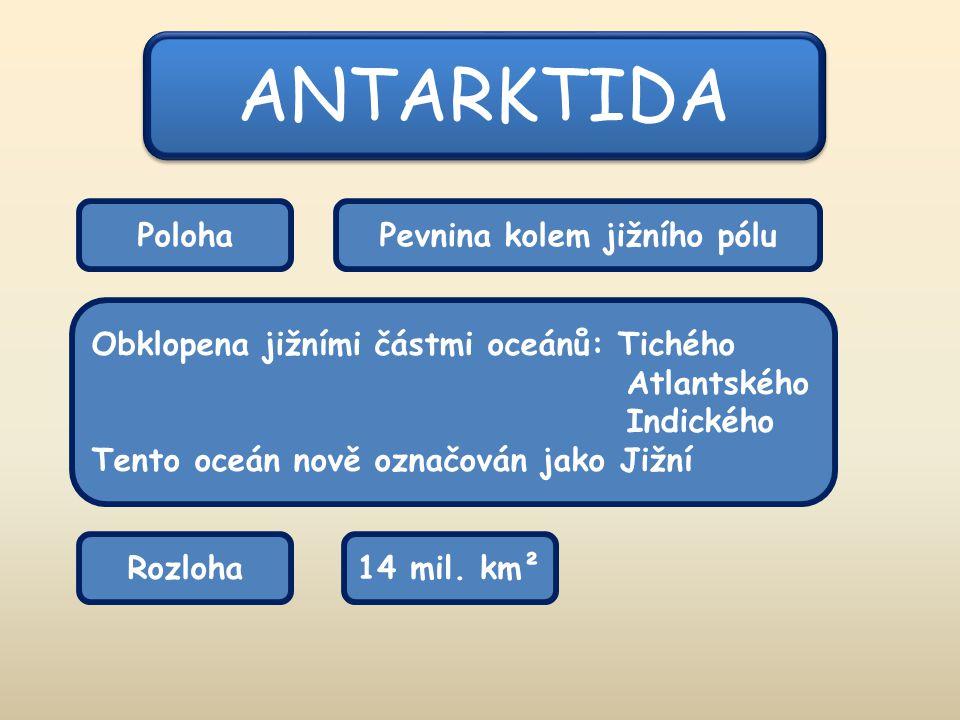 ANTARKTIDA PolohaPevnina kolem jižního pólu Obklopena jižními částmi oceánů: Tichého Atlantského Indického Tento oceán nově označován jako Jižní Rozloha14 mil.