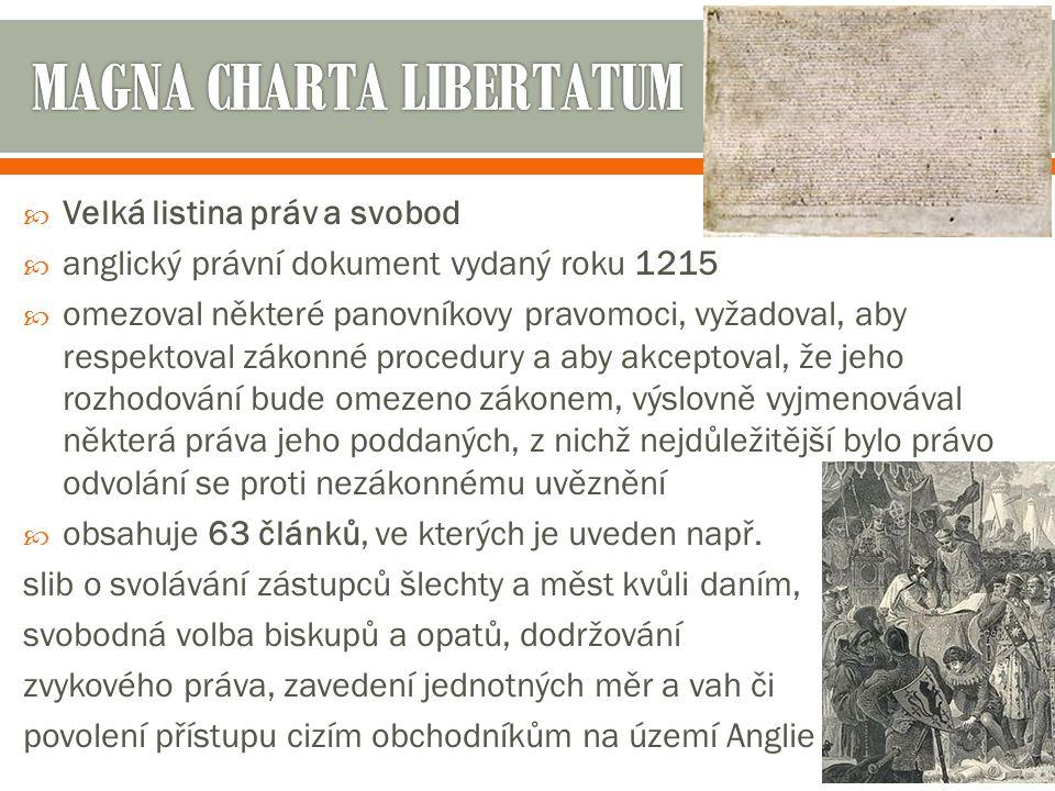  Listina o právech  písemné potvrzení práv anglického parlamentu, vydané roku 1689 Vilémem III.