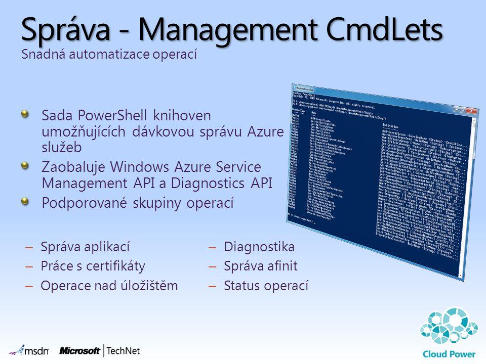 Správa - Management CmdLets Sada PowerShell knihoven umožňujících dávkovou správu Azure služeb Zaobaluje Windows Azure Service Management API a Diagno
