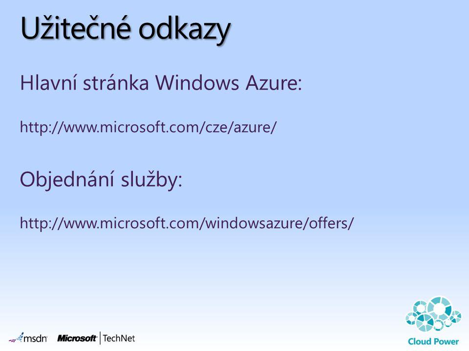 Užitečné odkazy Hlavní stránka Windows Azure: http://www.microsoft.com/cze/azure/ Objednání služby: http://www.microsoft.com/windowsazure/offers/