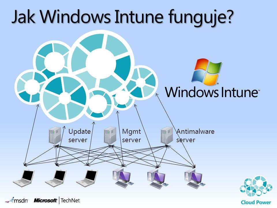 Jak Windows Intune funguje? Update server Mgmt server Antimalware server
