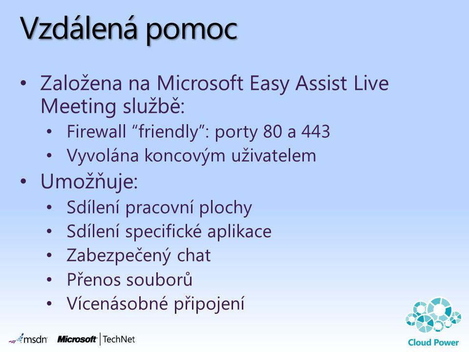 "Vzdálená pomoc Založena na Microsoft Easy Assist Live Meeting službě: Firewall ""friendly"": porty 80 a 443 Vyvolána koncovým uživatelem Umožňuje: Sdíle"