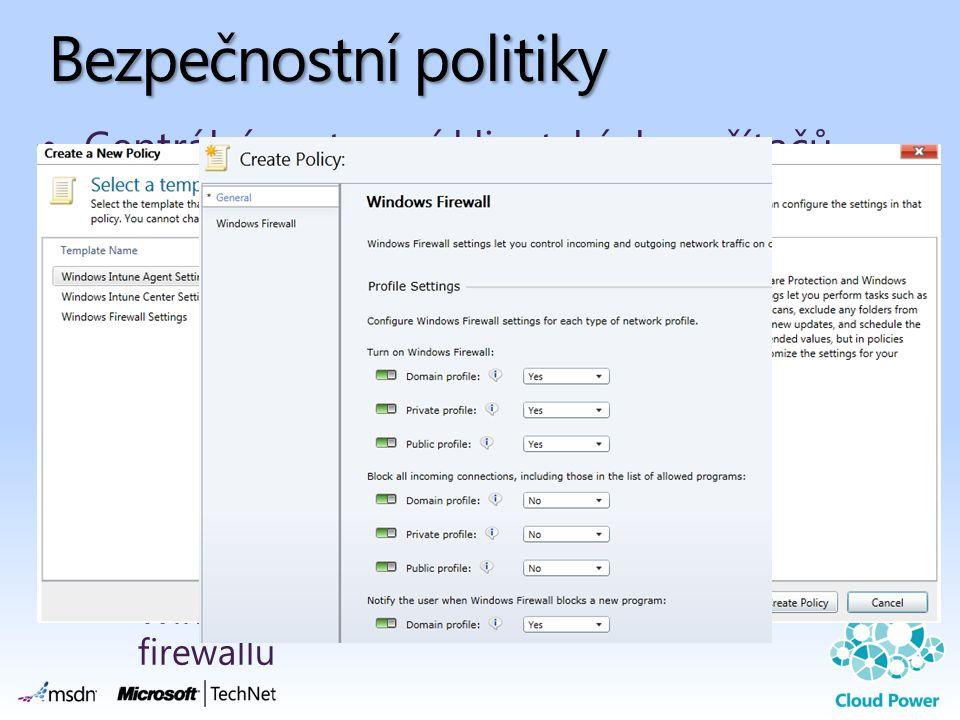 Bezpečnostní politiky Centrální nastavení klientských počítačů Distribuce na celou organizaci nebo na skupinu počítačů Distribuce na počítače formou a