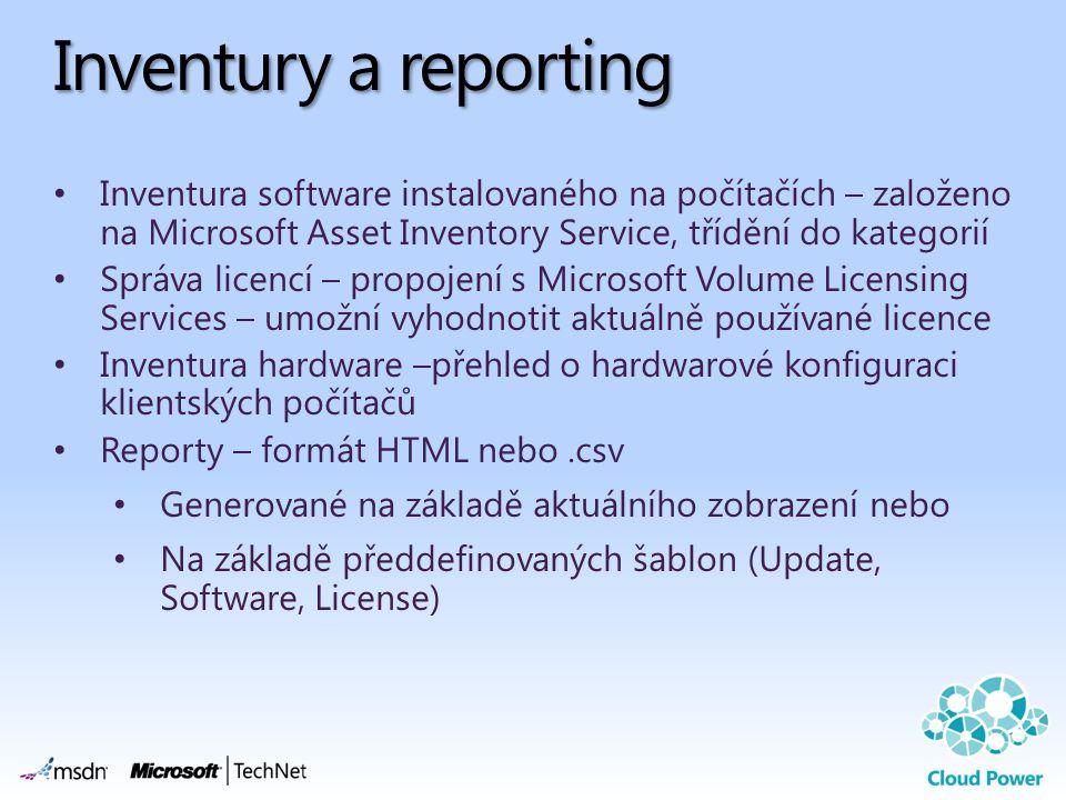 Inventury a reporting Inventura software instalovaného na počítačích – založeno na Microsoft Asset Inventory Service, třídění do kategorií Správa lice