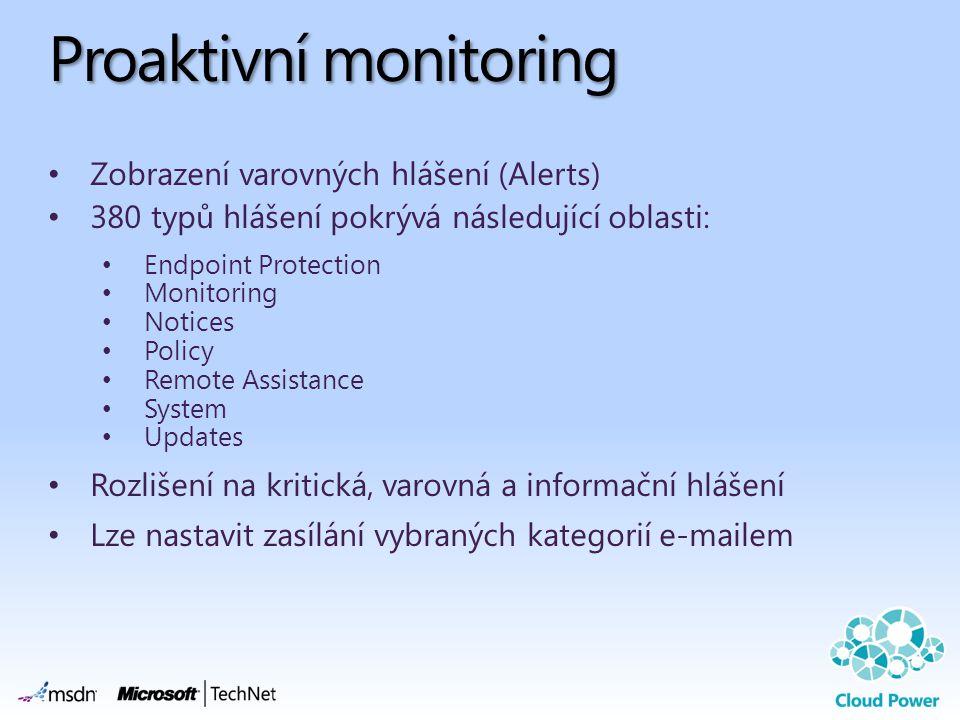 Proaktivní monitoring Zobrazení varovných hlášení (Alerts) 380 typů hlášení pokrývá následující oblasti: Endpoint Protection Monitoring Notices Policy