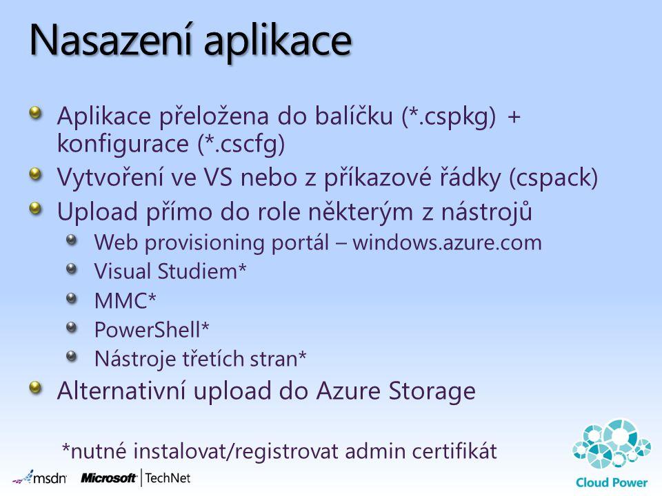 Nasazení aplikace Aplikace přeložena do balíčku (*.cspkg) + konfigurace (*.cscfg) Vytvoření ve VS nebo z příkazové řádky (cspack) Upload přímo do role