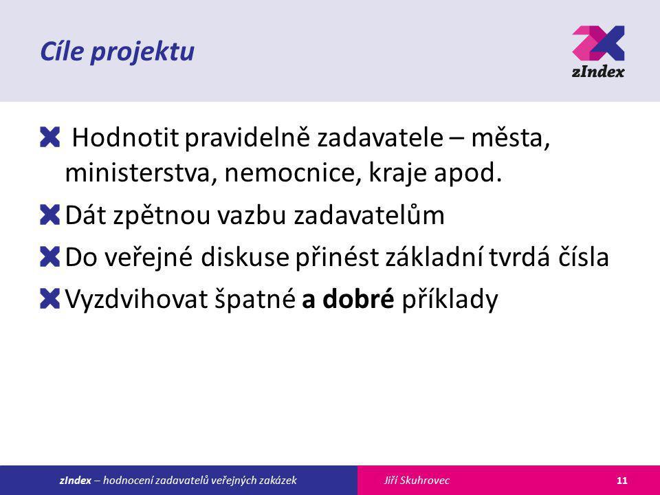 Jiří SkuhroveczIndex – hodnocení zadavatelů veřejných zakázek Cíle projektu Hodnotit pravidelně zadavatele – města, ministerstva, nemocnice, kraje apod.