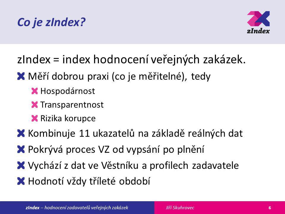 Jiří SkuhroveczIndex – hodnocení zadavatelů veřejných zakázek Co je zIndex? zIndex = index hodnocení veřejných zakázek. Měří dobrou praxi (co je měřit