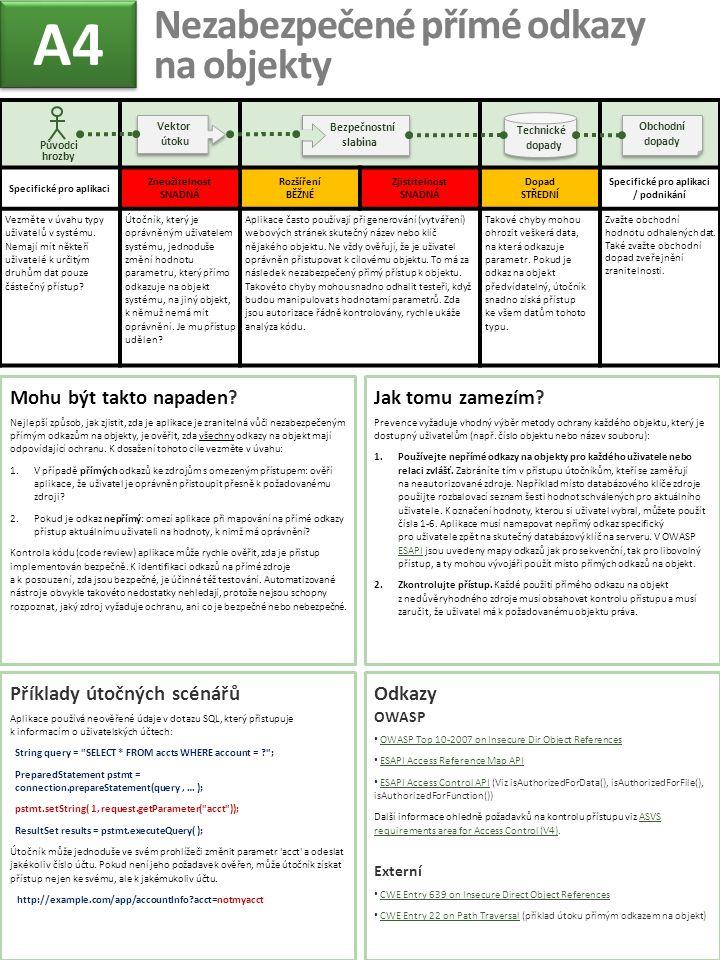 Specifické pro aplikaci Zneužitelnost SNADNÁ Rozšíření BĚŽNÉ Zjistitelnost SNADNÁ Dopad STŘEDNÍ Specifické pro aplikaci / podnikání Vezměte v úvahu ty