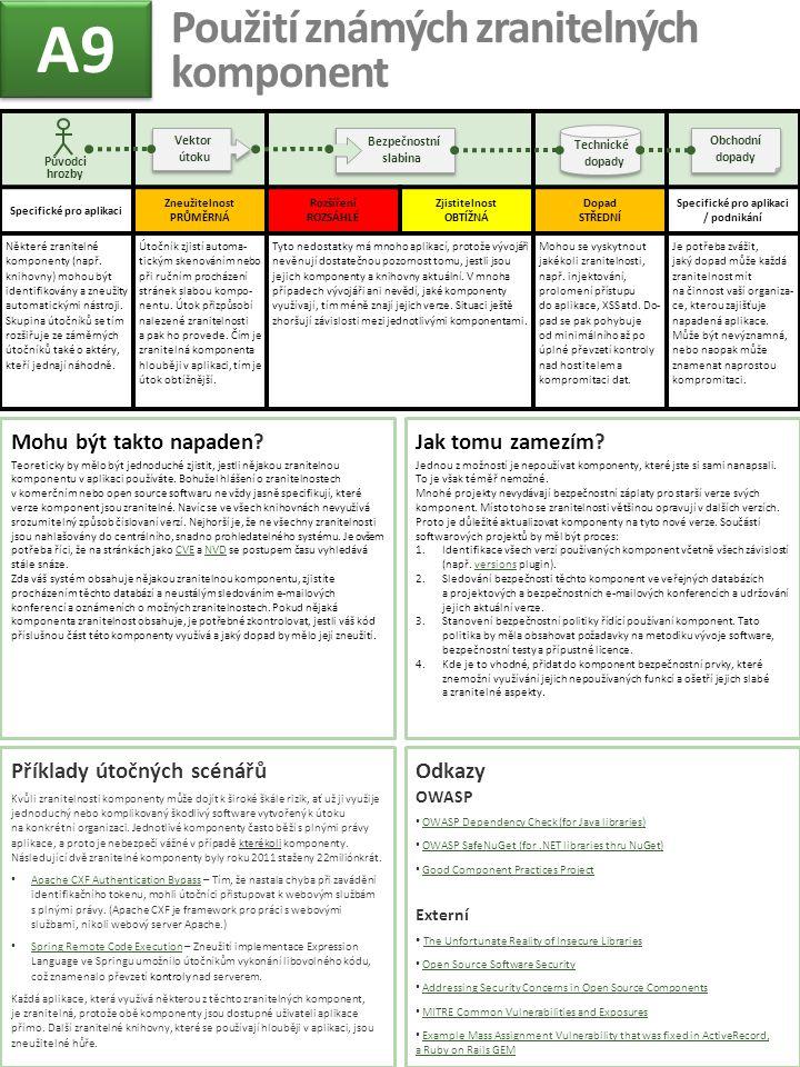 Specifické pro aplikaci Zneužitelnost PRŮMĚRNÁ Rozšíření ROZSÁHLÉ Zjistitelnost OBTÍŽNÁ Dopad STŘEDNÍ Specifické pro aplikaci / podnikání Některé zran