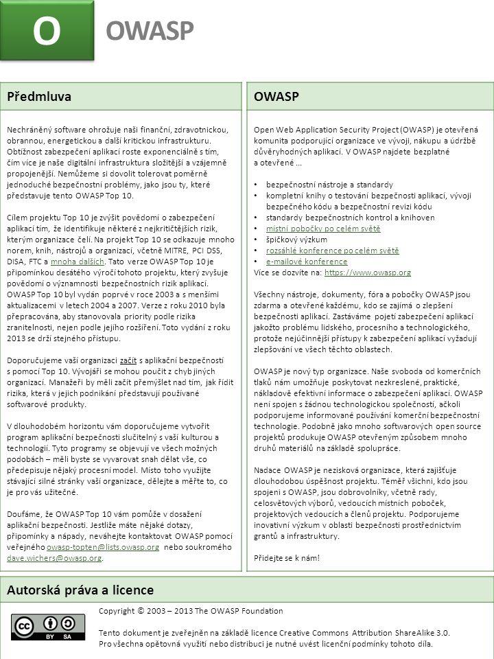 O O OWASP Autorská práva a licence Copyright © 2003 – 2013 The OWASP Foundation Tento dokument je zveřejněn na základě licence Creative Commons Attrib