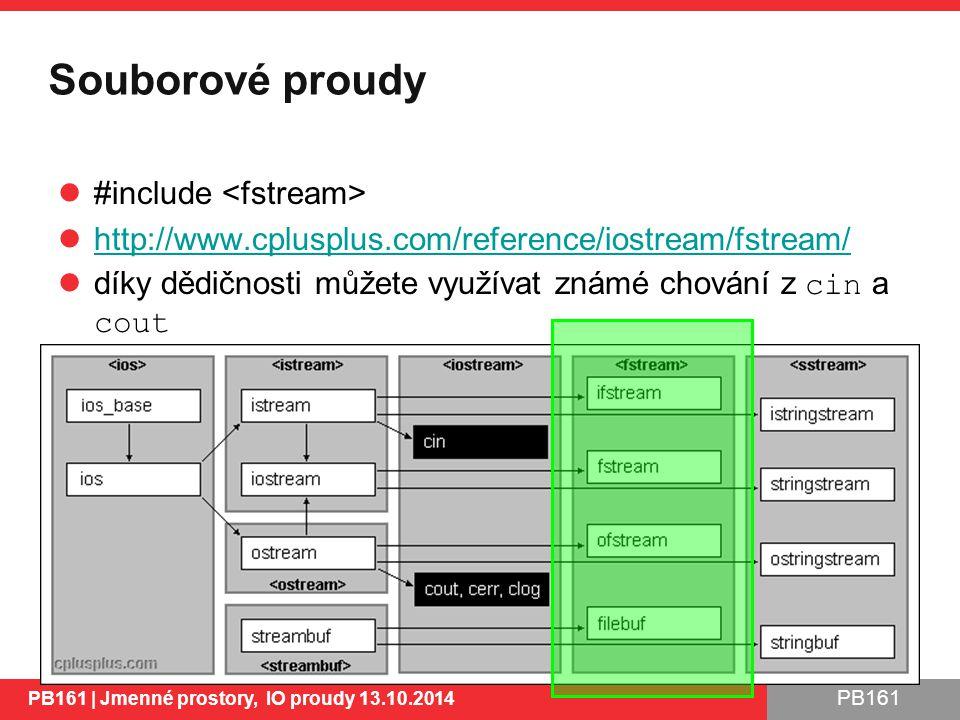 PB161 Souborové proudy #include http://www.cplusplus.com/reference/iostream/fstream/ díky dědičnosti můžete využívat známé chování z cin a cout PB161 | Jmenné prostory, IO proudy 13.10.2014 29