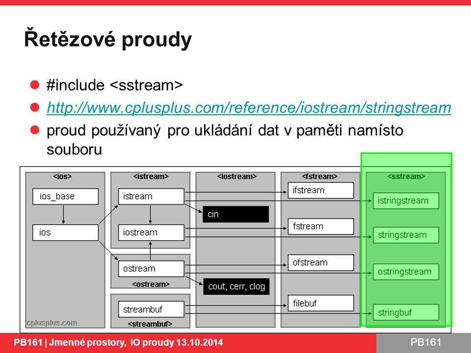 PB161 Řetězové proudy #include http://www.cplusplus.com/reference/iostream/stringstream proud používaný pro ukládání dat v paměti namísto souboru PB161 | Jmenné prostory, IO proudy 13.10.2014 45
