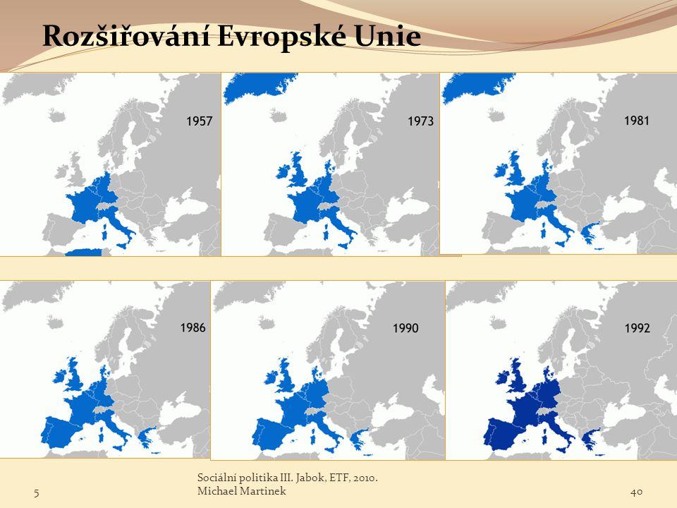 Rozšiřování Evropské Unie 5 Sociální politika III. Jabok, ETF, 2010. Michael Martinek40