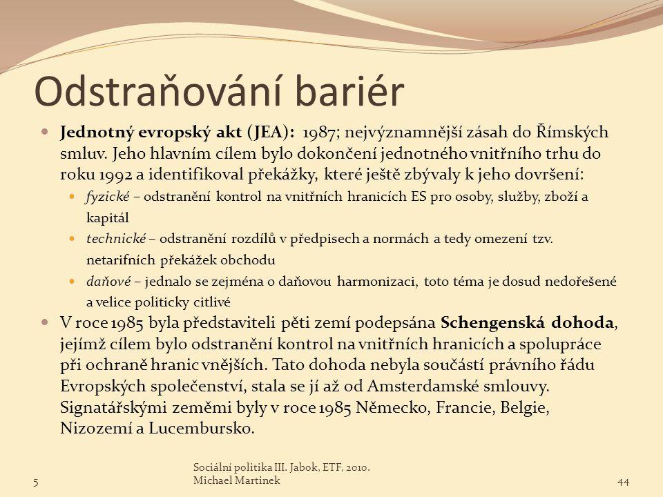 Odstraňování bariér Jednotný evropský akt (JEA): 1987; nejvýznamnější zásah do Římských smluv. Jeho hlavním cílem bylo dokončení jednotného vnitřního
