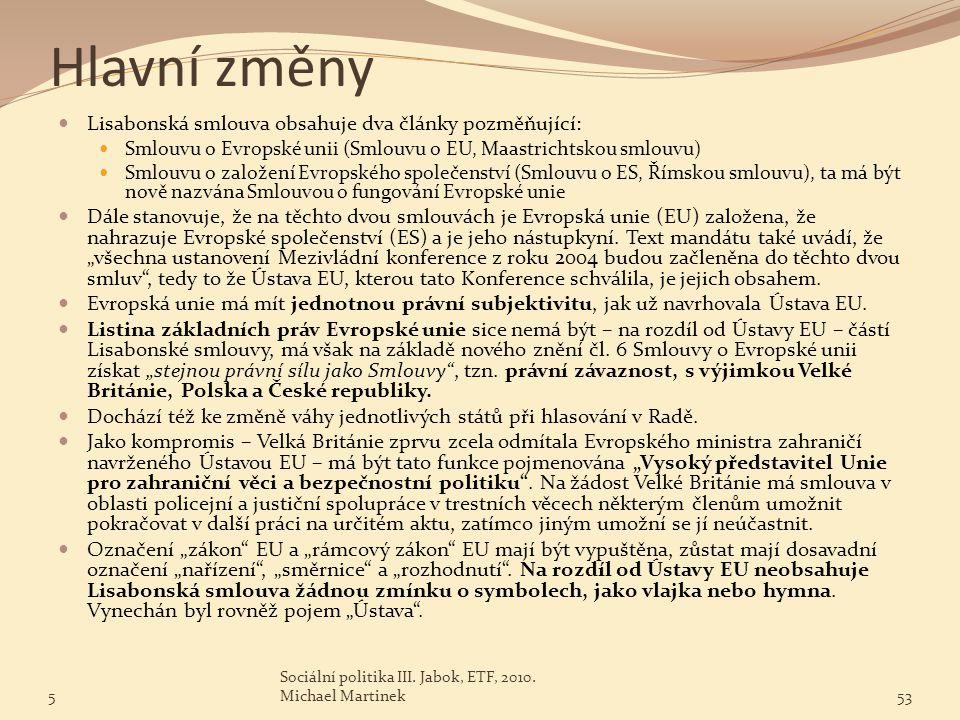 Hlavní změny Lisabonská smlouva obsahuje dva články pozměňující: Smlouvu o Evropské unii (Smlouvu o EU, Maastrichtskou smlouvu) Smlouvu o založení Evr