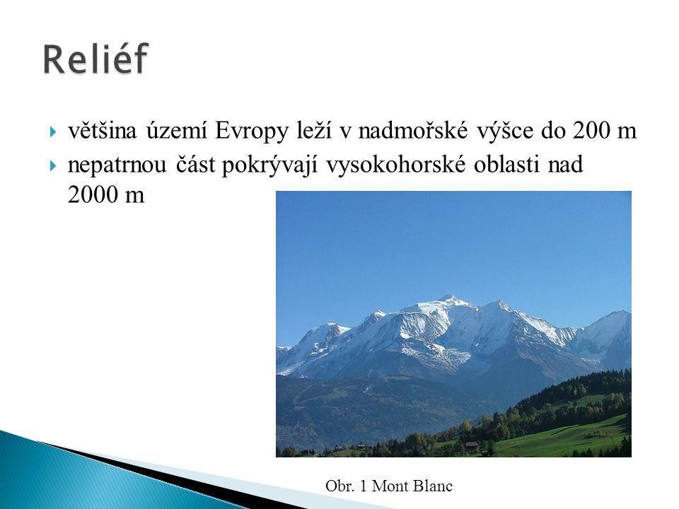  většina území Evropy leží v nadmořské výšce do 200 m  nepatrnou část pokrývají vysokohorské oblasti nad 2000 m Obr. 1 Mont Blanc